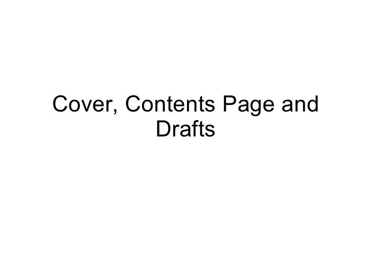 Cover, contents page and drafts
