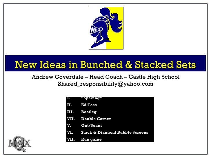 "New Ideas in Bunched & Stacked Sets Q MAX Andrew Coverdale – Head Coach – Castle High School [email_address] <ul><li>I.  ""..."
