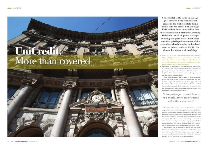 The Covered Bond Report UniCredit interview