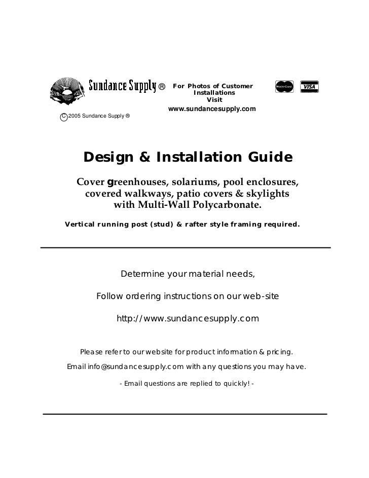Cover greenhouses, solariums,sundance designguide