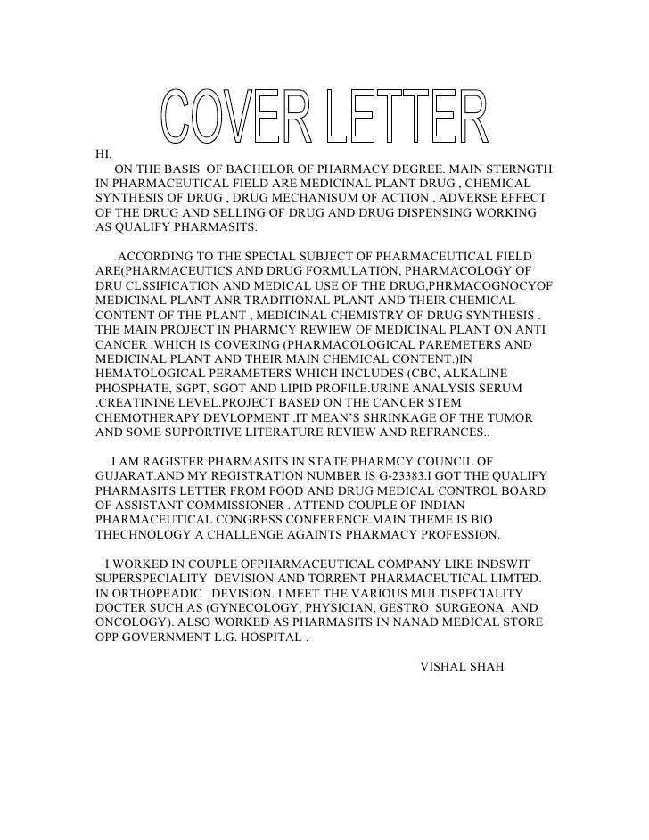 Chemist Cover Letters
