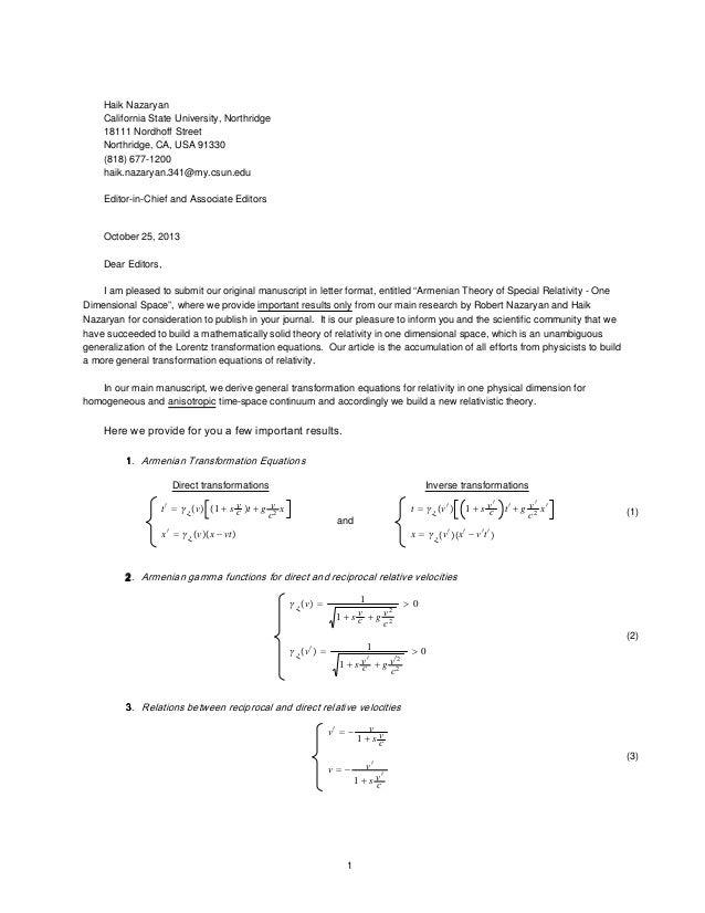 Scientific Journal Cover Letter