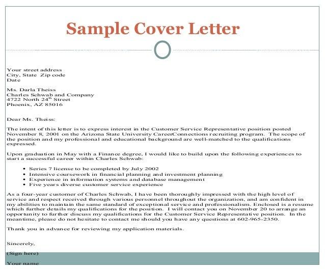 Charles Schwab Cover Letter