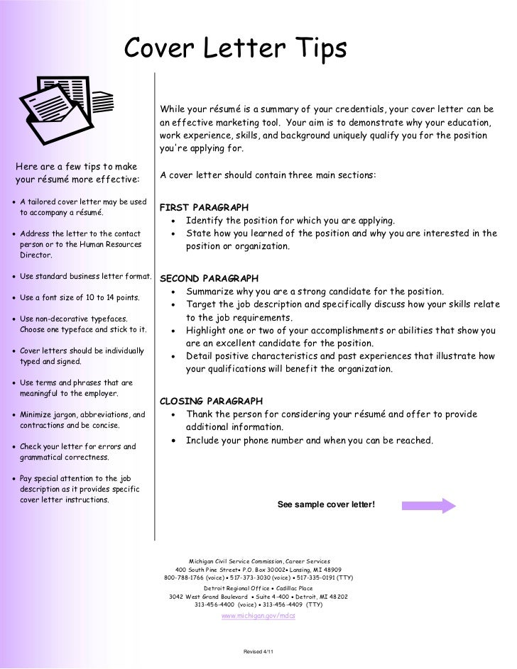 Cover Letter Tips                                         While your résumé is a summary of your credentials, your cover l...