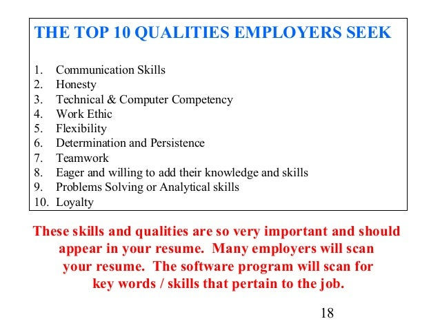 qualities resumes