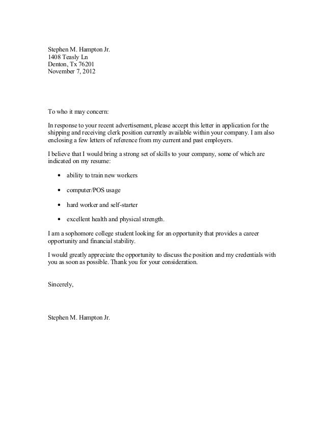 Sample Cover Letter Doc
