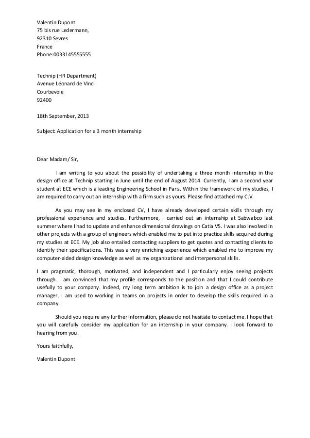 Sample Cover Letter: Sample Cover Letter For Internship Abroad