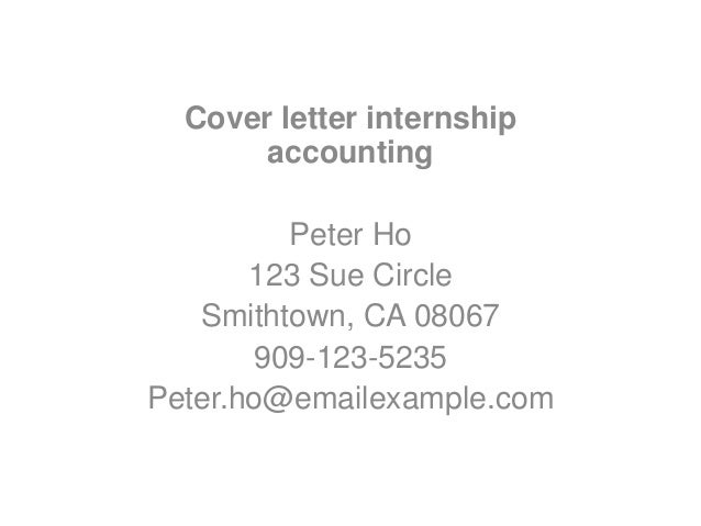 Accounting summer intern cover letter