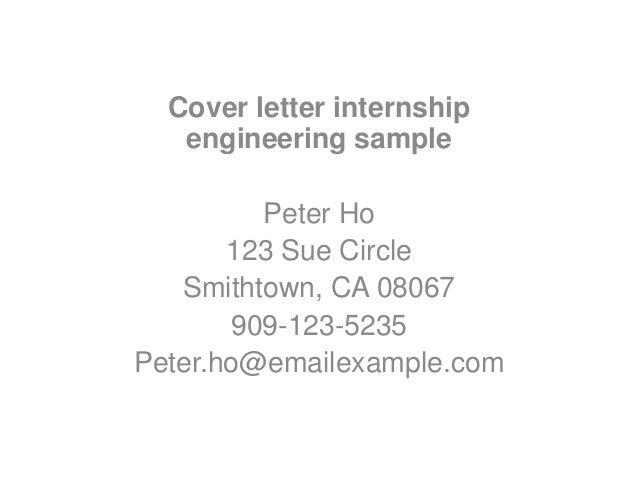 Cover Letter Internship Engineering Sample