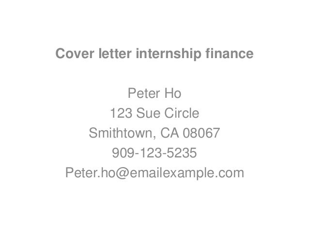 Cover letter example finance internship