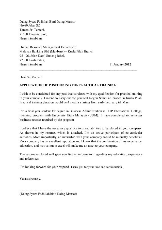 application letter for internship malaysia