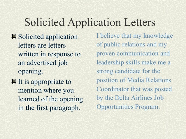 solicited and unsolicited job application letter Write solicited and unsolicited job application letters that strategically from comm 212 at concordia canada.