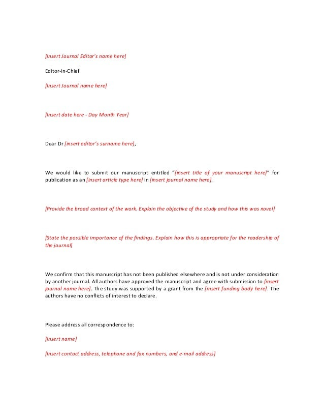 Cover letter journal article sample
