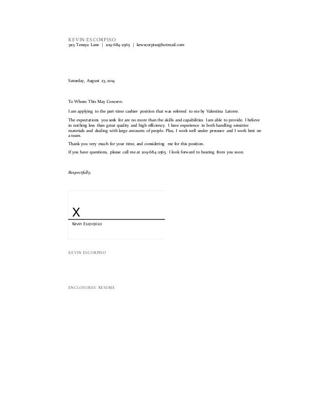 cover letter with enclosures format