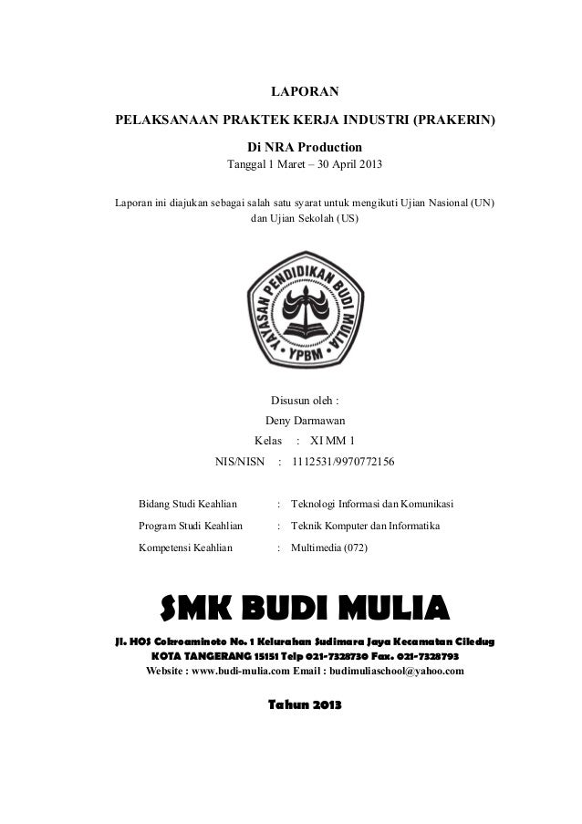 Cover page (Laporan PKL)