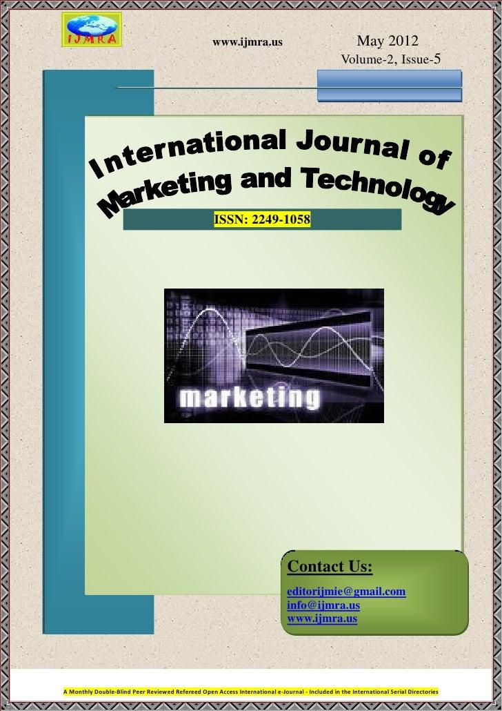 www.ijmra.us                                   May 2012                                                                   ...