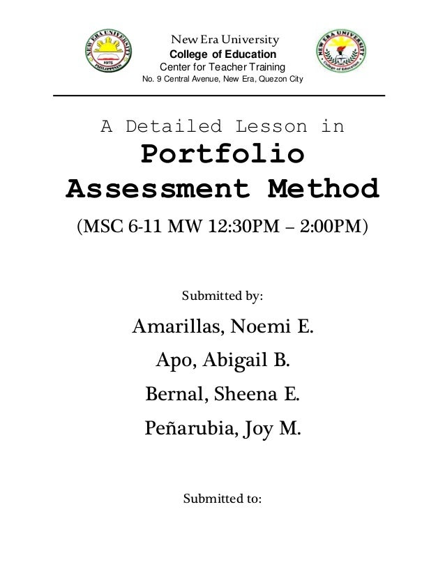 Cover Page Of A Detailed Lesson Plan In Portfolio Assessment Method O
