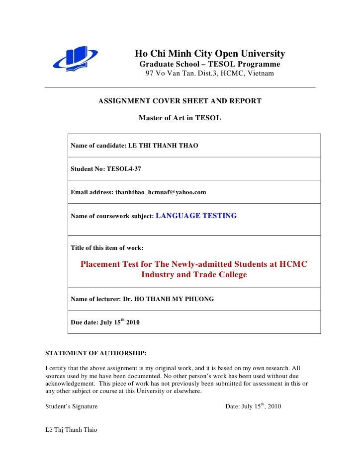 Ho Chi Minh City Open University                                  Graduate School – TESOL Programme                       ...