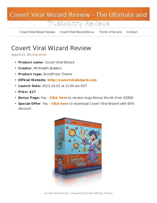 Covert Viral Wizard Review and Bonus $5800