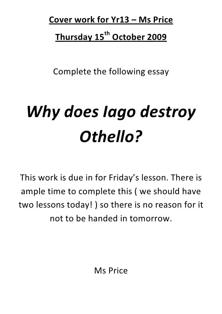 essay question on othello Essay written for undergraduate studets on othello by shakespeare mla citation  style.