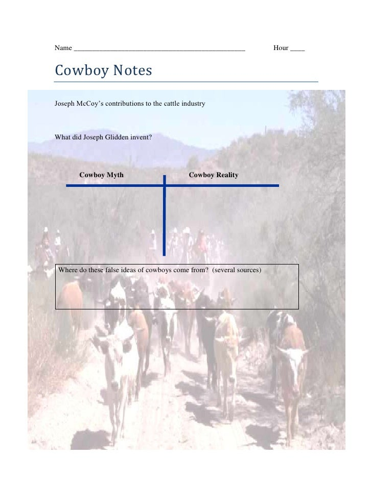 Name _______________________________________________   Hour ____<br />center621030Cowboy Notes<br />Joseph McCoy's contrib...