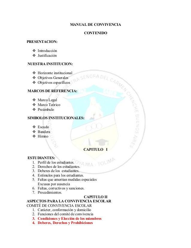 MANUAL DE CONVIVENCIA  CONTENIDO  PRESENTACION:   Introducción   Justificación  NUESTRA INSTITUCION:   Horizonte instit...