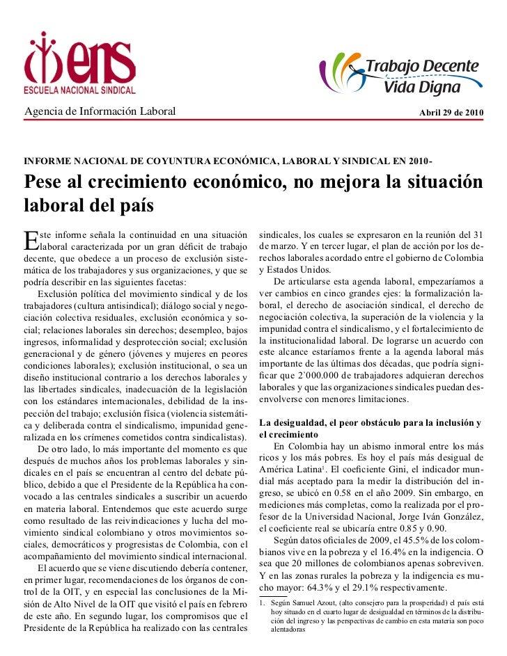 Informe Nacional de Coyuntura Social, Política y Sindical 2010
