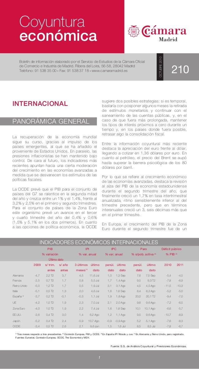 Boletín de Coyuntura Económica octubre 2010