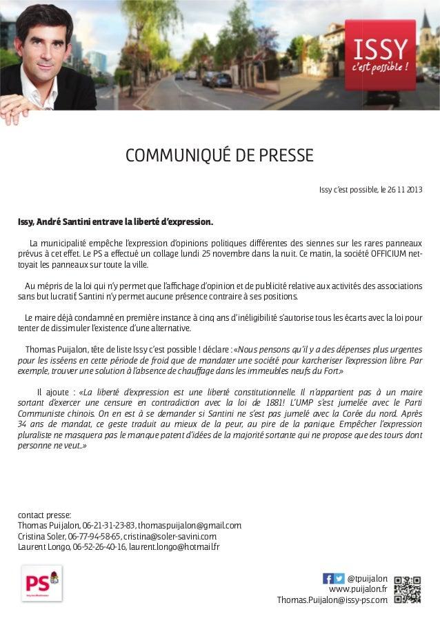 COMMUNIQUÉ DE PRESSE Issy c'est possible, le 26 11 2013  Issy, André Santini entrave la liberté d'expression. La municipal...