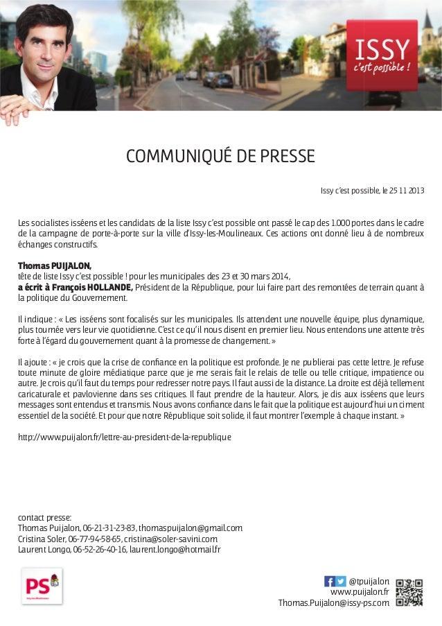 COMMUNIQUÉ DE PRESSE Issy c'est possible, le 25 11 2013  Les socialistes isséens et les candidats de la liste Issy c'est p...