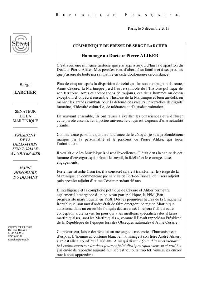 R  E  P  U  B  L  I  Q  U  E  F  R  A  N  Ç  A  I  S  E  Paris, le 5 décembre 2013  COMMUNIQUE DE PRESSE DE SERGE LARCHER ...