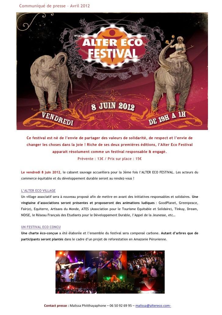 Alter Eco Festival 2012 - Musique