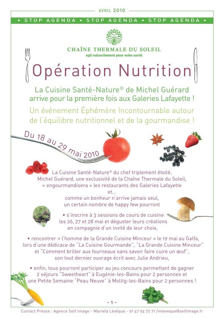 AVRIL   2010 • STOP AGENDA • STOP AGENDA • STOP AGENDA •          Opération Nutrition      La Cuisine Santé-Nature® de Mic...