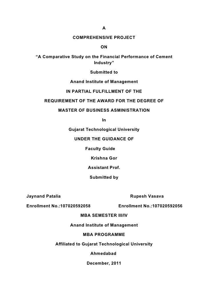 """A                    COMPREHENSIVE PROJECT                                  ON    """"A Comparative Study on the Financial Pe..."""