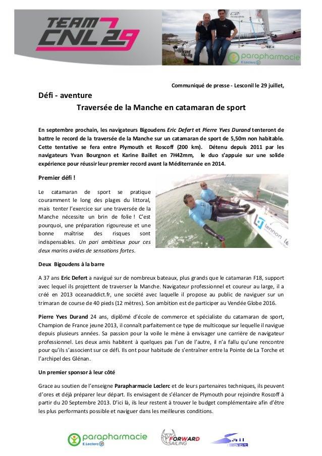 Communiqué  de  presse  -‐  Lesconil  le  29  juillet,   Défi  -‐  aventure     ...