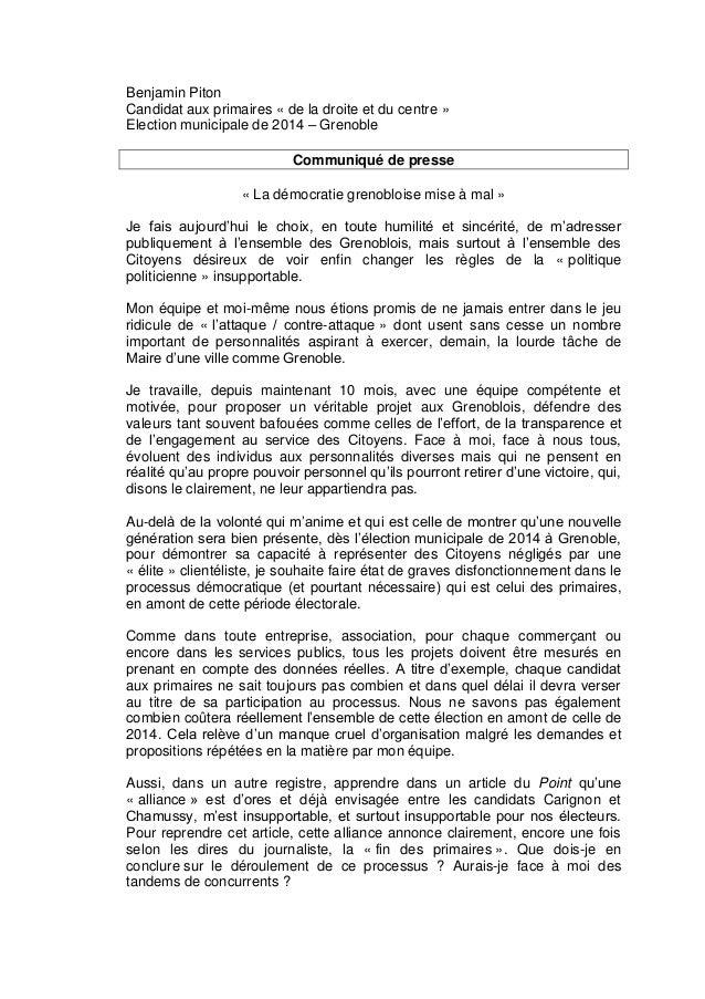 Benjamin Piton Candidat aux primaires « de la droite et du centre » Election municipale de 2014 – Grenoble Communiqué de p...