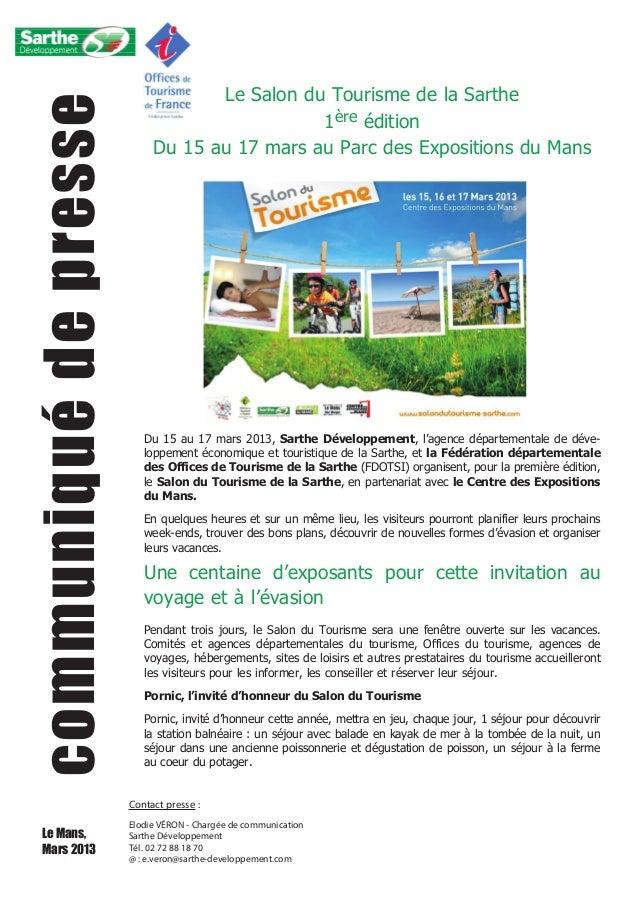 Communiqu de presse le salon du tourisme de la sarthe for Salon e tourisme