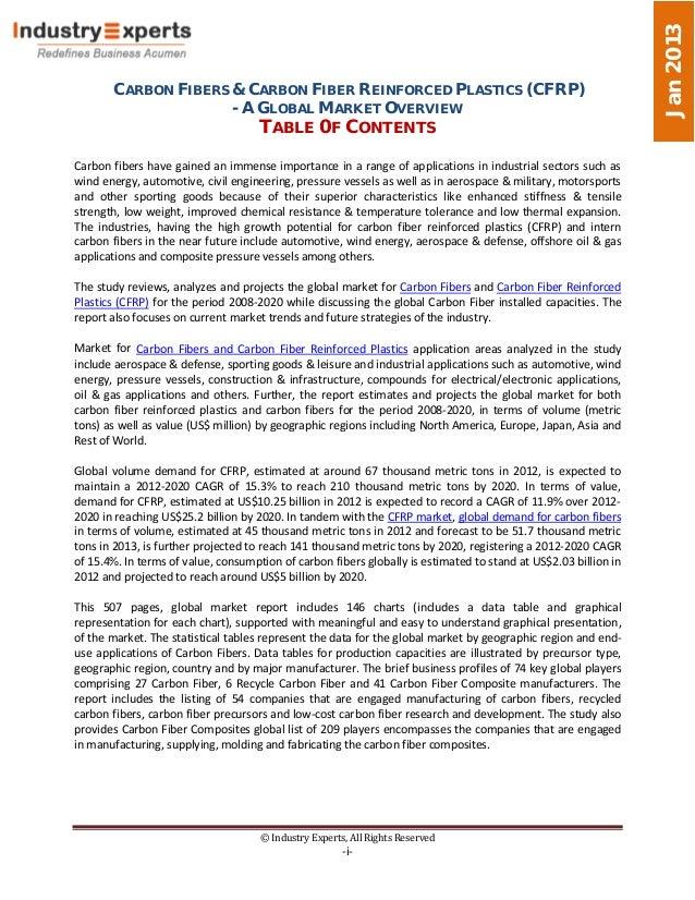 Jan 2013       CARBON FIBERS & CARBON FIBER REINFORCED PLASTICS (CFRP)                     - A GLOBAL MARKET OVERVIEW     ...