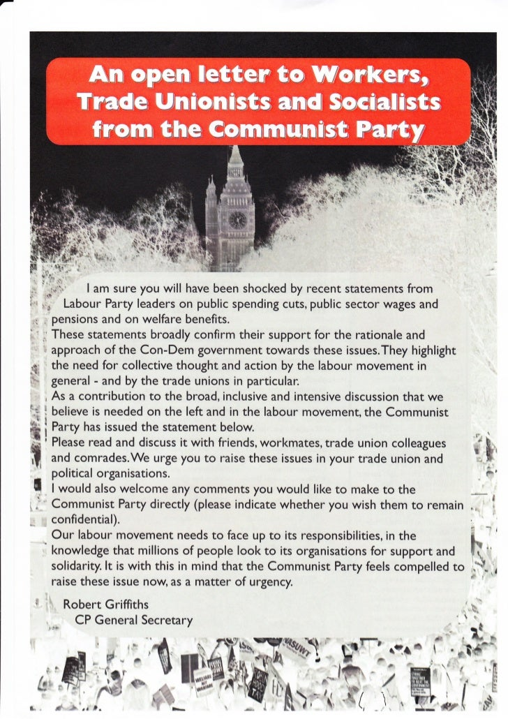 An open letter to Workers, Trade Unionists and Socialists from the Communist Part