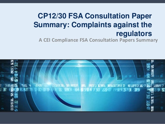 Cp1230 FSA consultation paper summary: complaints against the regulators