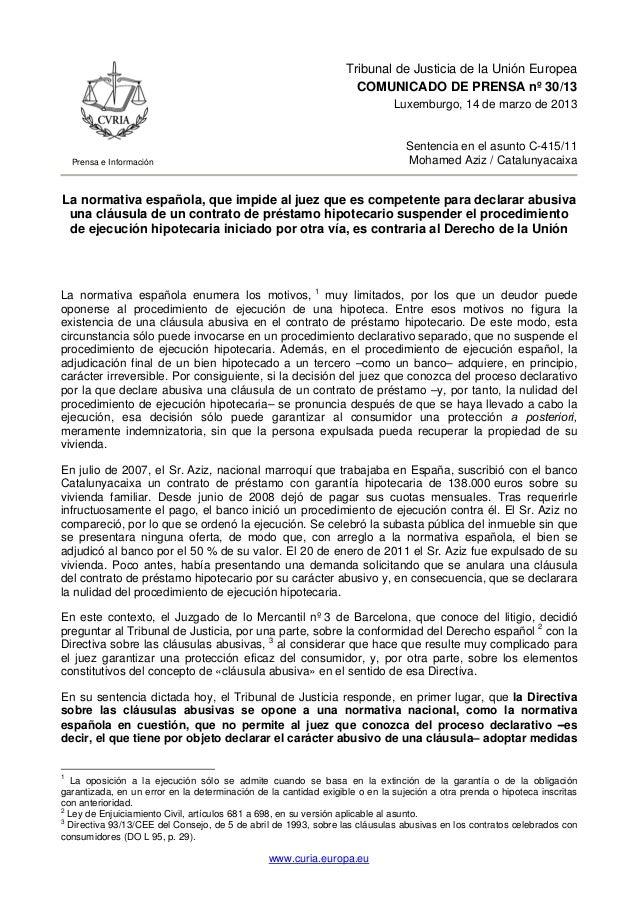 Nota de Prensa Tribunal Europeo sobe Sentencia hipotecas 14 marzo 2013