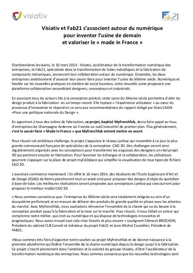 Visiativ et Fab21 s'associent autour du numérique pour inventer l'usine de demain  et valoriser le « made in France »