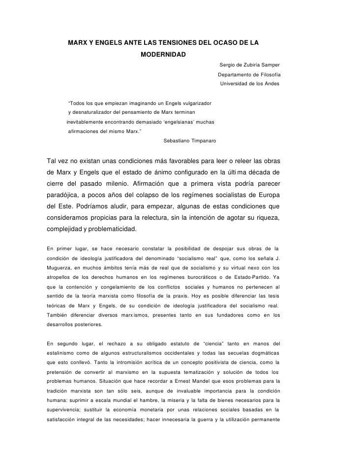 MARX Y ENGELS ANTE LAS TENSIONES DEL OCASO DE LA                                       MODERNIDAD                         ...