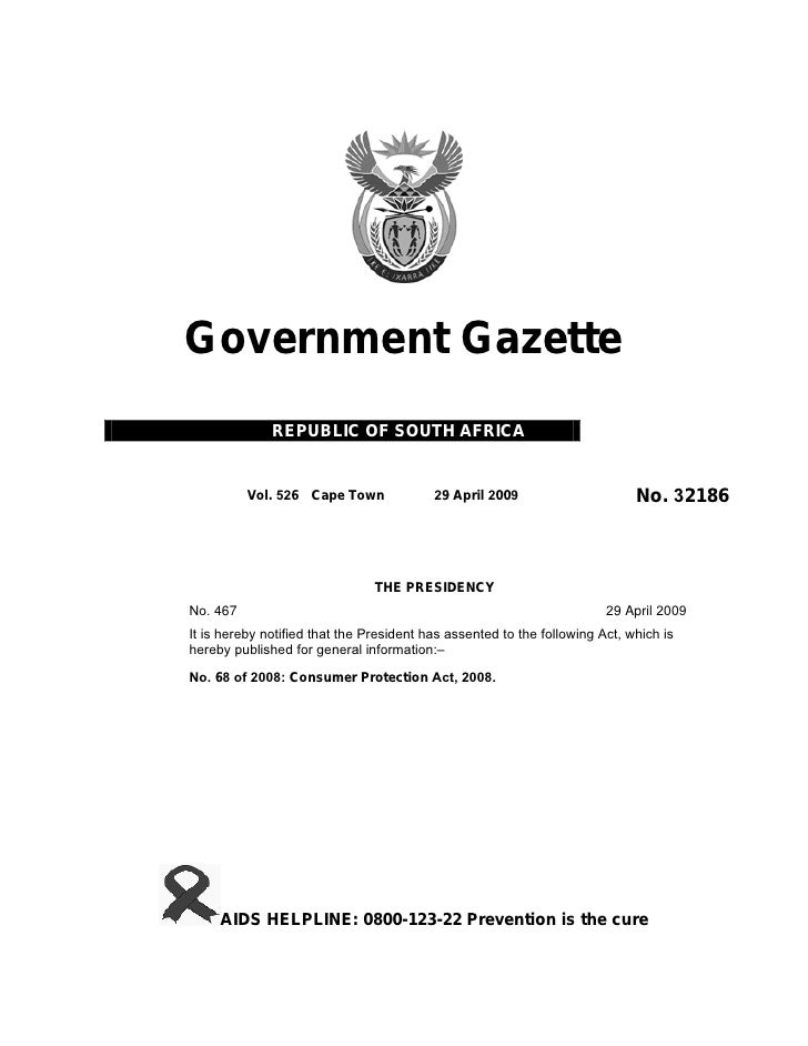 Government Gazette               REPUBLIC OF SOUTH AFRICA             Vol. 526 Cape Town              29 April 2009       ...