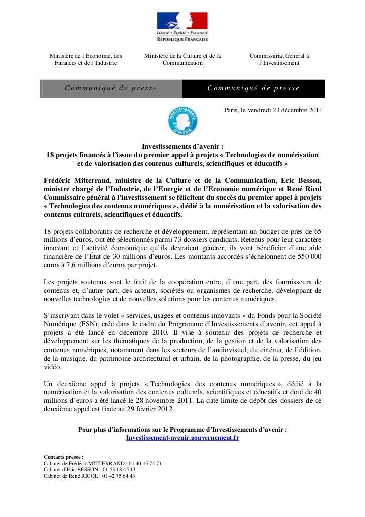 Ministère de l'Economie, des          Ministère de la Culture et de la            Commissariat Général à   Finances et de ...