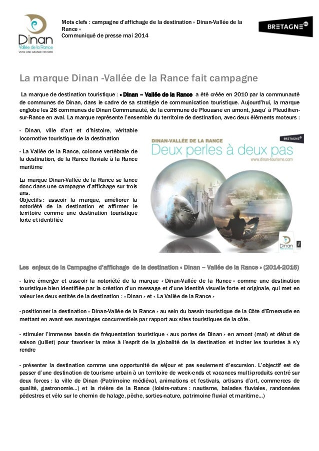 Mots clefs : campagne d'affichage de la destination « Dinan-Vallée de la Rance » Communiqué de presse mai 2014 La marque D...