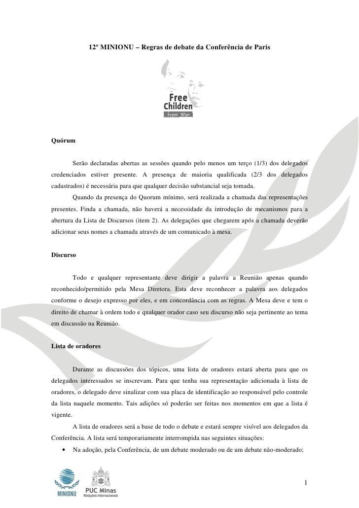 12º MINIONU – Regras de debate da Conferência de Paris                 12º MINIONU – Regras de debate da Conferência de Pa...