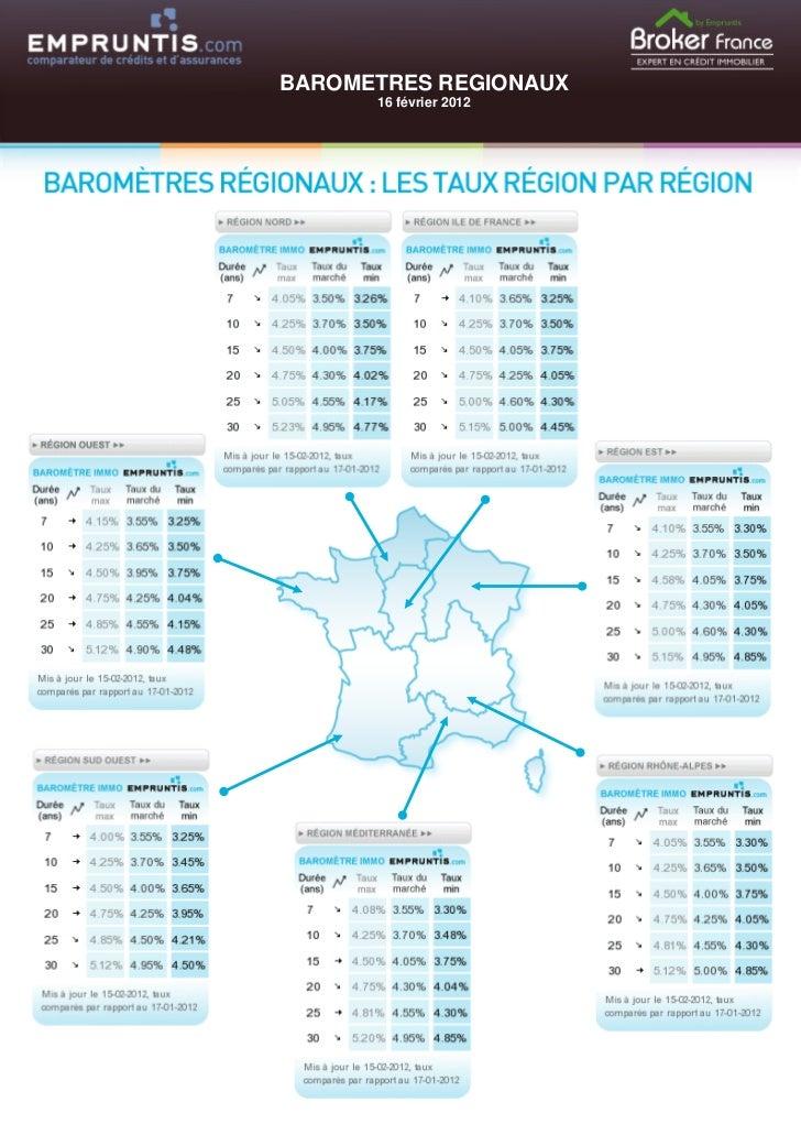 BAROMETRES REGIONAUX      16 février 2012