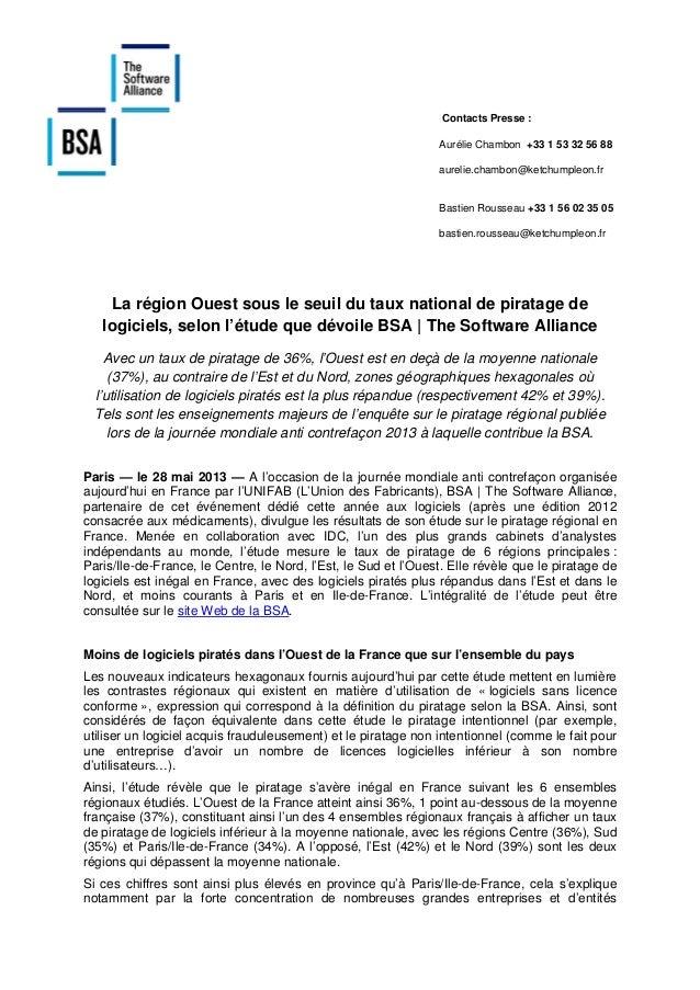 [Piratage régional] Ouest - Résultats de l'étude BSA / IDC sur le piratage régional en France