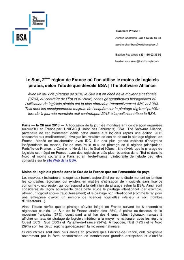 [Piratage régional] Sud - Résultats de l'étude BSA / IDC sur le piratage régional en France